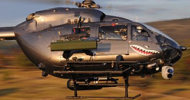 H145M helicopter with 'plug-and-play' weapon systems attached. Airbus Helicopters photo by Anthony Pecchi.