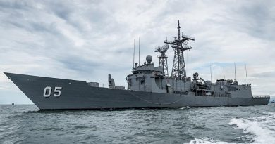 HMAS Melbourne departs Brunei enroute to Korea. Photo by Able Seaman Daniel Cull.