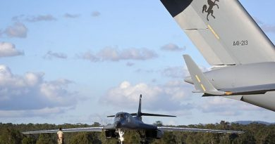 A United States Air Force B-1B Lancer aircraft arrives at RAAF Amberley. Photo by Corporal Ben Dempster.