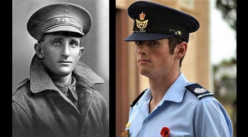 3135 Trooper Alfred Joseph Smith, 3rd Australian Light Horse Regiment, AIF, and his great-grandson Cadet Warrant Officer Jack Lemar, No 622 Squadron, AAFC. Images supplied by Flying Officer (AAFC) Paul Lemar.