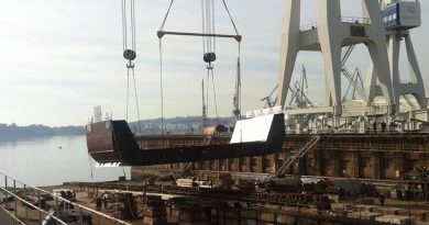 The first keel block for the future HMAS Supply being laid in Spain. Navantia photo.
