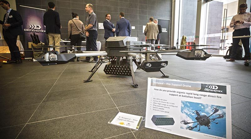 A Tempest Fire Support Drone on display at the Australian Army Innovation Day 2017, at ADFA. Photo by Corporal Sebastian Beurich.
