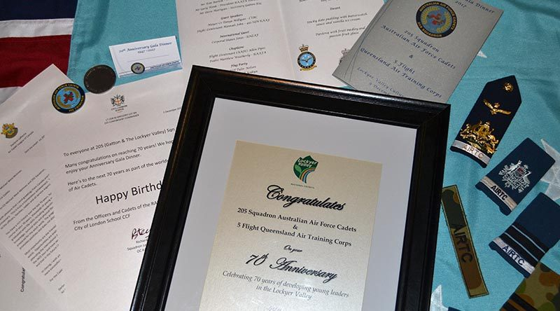 Certificates and letters of congratulations to 205 Squadron AAFC on celebrating its 70th birthday.