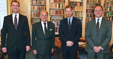 Pictured left to right at Buckingham Palace: Major General Robert Magowan (outgoing Commandant General Royal Marines), His Royal Highness The Duke of Edinburgh (outgoing Captain General Royal Marines), His Royal Highness Prince Harry (incoming Captain General Royal Marines) and Major General Charles Stickland (incoming Commandant General Royal Marines). Official photo.