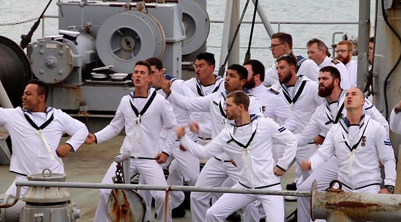 Ship's company of HMNZS Endeavour perform a Haka after the ship's final return to port. Photo by Mike Millett, AirflowNZ.