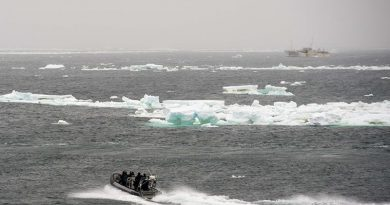 A boarding party from HMNZS Otago approaches a foreign fishing vessel to conduct an inspection as part of Operation Castle, in the Ross Sea. NZDF photo.