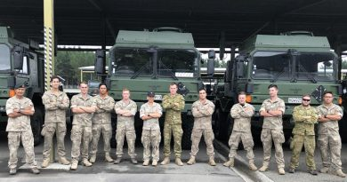 Some of the drivers from the New Zealand Defence Force and Australian Army pose for a photo before leaving for Antarctica to help unload about 3000 tonnes of supplies. NZDF photo.