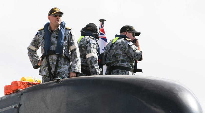 Commanding Officer HMAS Farncomb Commander Barry Carmichael oversees the submarine's departure from Fleet Base East, Sydney, on 17 January for a training evolution. The Collins-class submarine  is currently attached to Fleet Base East as part of the Submarine Squadron's commitment to keeping a presence on the east coast. As well as maintaining relations with the surface fleet based at Fleet Base East, HMAS Farncomb will also conduct a maintenance period before departing later this year. Photo by Able Seaman Kieran Dempsey.