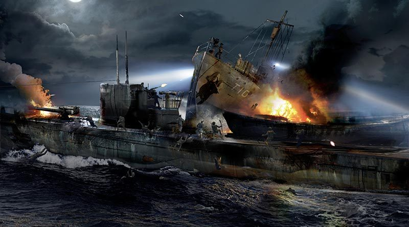 A computer-generated image showing HMNZS Kiwi ramming Japanese submarine I-1 in Guadalcanal on 29 January, 1943. CREDIT: Watertight Productions.