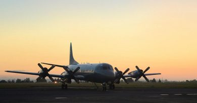 An RNZAF Orion on the tarmac shortly before departing on a search mission off Kiribati, 27 January 2018.
