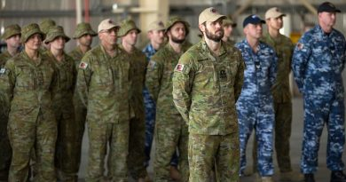 ADF personnel on parade during a change-of-command ceremony of Joint Task Force 633 in the Middle East from Major General John Frewen to Rear Admiral Jaimie Hatcher, on 20 January 2018. Photo by WO2 Neil Ruskin.