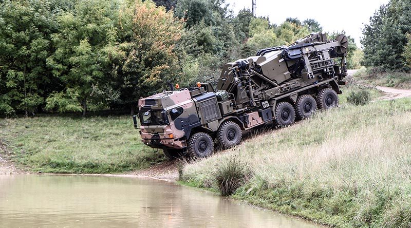 An Australian dry support bridge launcher being tested at Millbrook Proving Grounds in England.