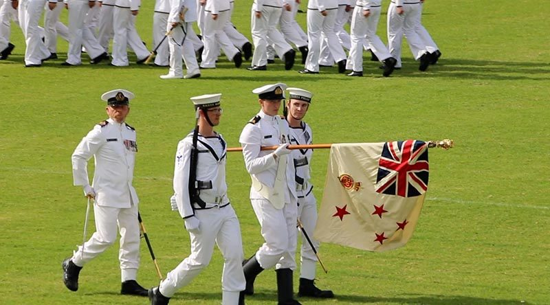 Royal New Zealand Navy Fleet and Naval Support sailors assembled adjacent to the Devonport Naval base today to formally parade their Colours. Photo courtesy AirflowNZ