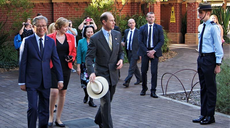 HRH Prince Edward, Earl of Wessex accompanied by Hieu Van Le, Governor of South Australia, pass CCPL Simon Russell, 604 Squadron, in the Guard of Honour.