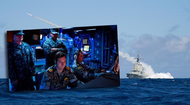 HMAS Hobart fires a Harpoon Blast Test Vehicle, and, inset, Lieutenant Commander Marc Beecroft from HMAS Sydney conducts training with the Aegis Combat System onboard USS Kidd to prepare for the arrival of the new Hobart-class into the Royal Australian Navy. Main photo by Leading Seaman Peter Thompson – inset by Able Seaman Sarah Ebsworth.