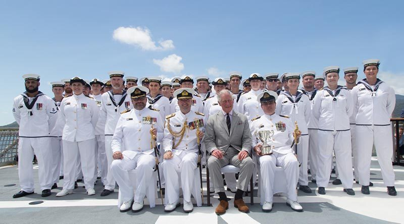 His Royal Highness, The Prince of Wales with the winners of the Duke Gloucester's Cup for 2017, Hydrographic Ship Blue Crew on the flight deck of HMAS Leeuwin in Cairns. Photo by Petty Officer Phil Cullinan.
