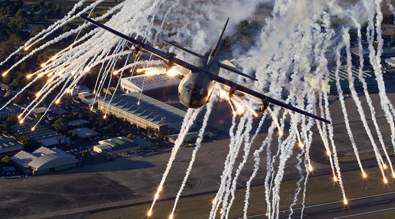 An Air Force C-130J Hercules conducts low-level training and flare drops over RAAF Base Richmond. Photo by Warrant Officer Mark McIntyre.