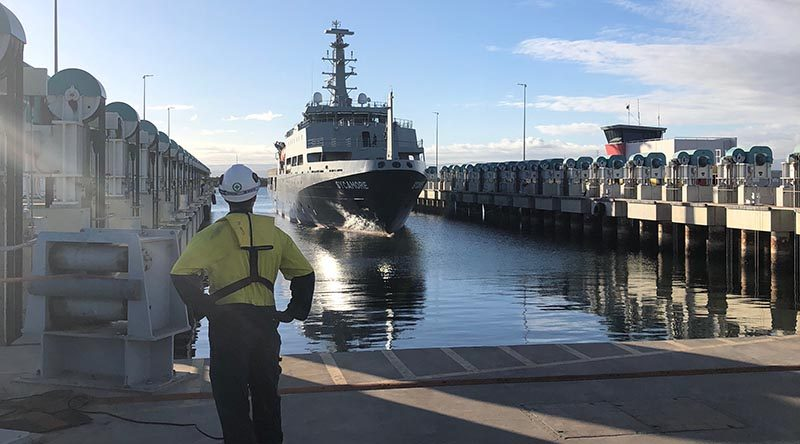 MV Sycamore arrives at Osborne South dockyards for servicing. Photo supplied by ASC Shipbuilding.