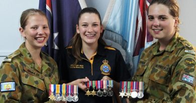 LCDT Courtney Semmler, CCPL Lucy Tassell and CFSGT Casey Dibben of No 6 Wing, AAFC will honour the military service of their forebears during this year's Anzac commemoration period, by wearing their medals.