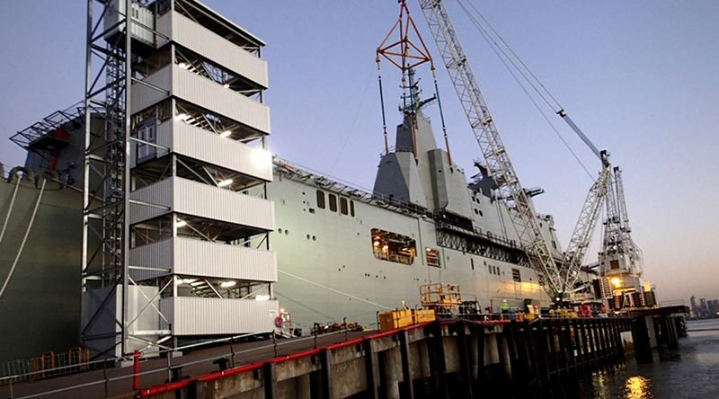 Final fit out of the future HMAS Canberra at the BAE Systems Williamstown Dockyard. Photo by I @B.