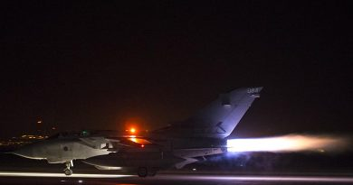 A Royal Air Force Tornado takes off from RAF Akrotiri, Cyprus, to conduct strikes on Syria. Photo by Corporal L Matthews, Royal Air Force.