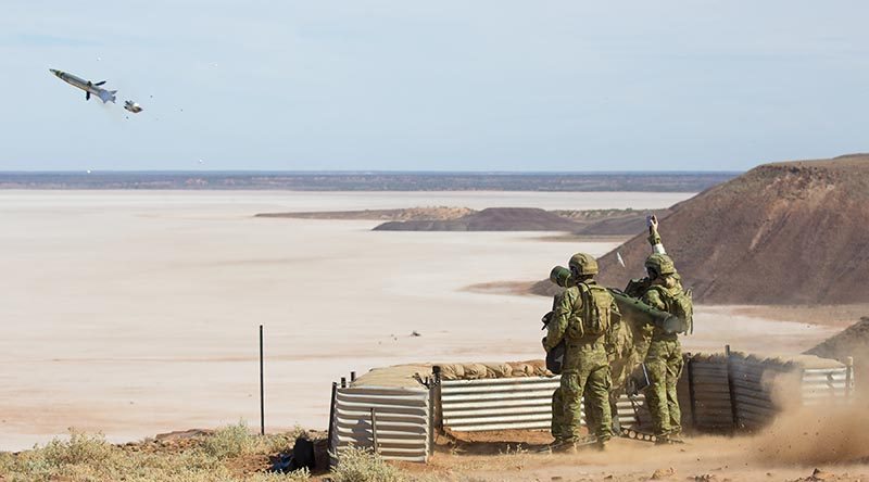 16th Air Land Regiment personnel launch an RBS-70 anti-aircraft missile at the Woomera Range Complex in South Australia.