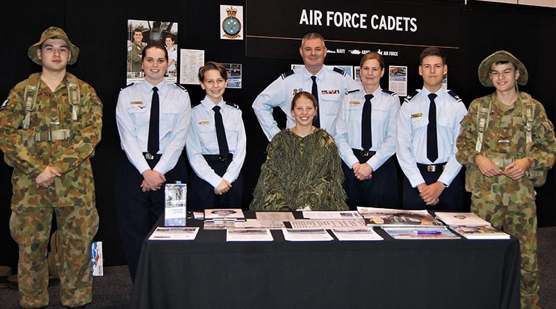 The 6 Wing Public Affairs Team for the Friday afternoon shift (left to right): LCDT Elias Neocleous, No 609 Squadron (Warradale Barracks), CFSGT Casey Dibben, No 608 (Town of Gawler) Squadron; LCDT Beatriz Ribeiro Dos Santos, No 613 Squadron (RAAF Edinburgh); LCDT Courtney Semmler, No 608 Squadron; FLGOFF(AAFC) Paul Rosenzweig, PACO 6 Wing; ACW(AAFC) Lisa Dibben, No 608 Squadron; CCPL Nicholas Sibly, No 601 Squadron (Keswick Barracks); and LCDT Adomas Neocleous, No 609 Squadron.