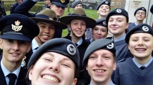 CCPL Sydney Searle (centre) with fellow AAFC team members and some RAF Air Cadets at RAF Waddington. Photo supplied by CCPL Searle