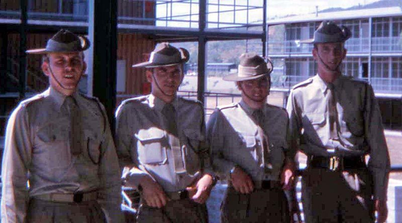 Peter Kowalski (KIA), Ian Cavanough, Ian Crisp (WIA) and Digger at Lavarack Barracks Townsville, 1969.