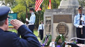 CCPL Simon Russell and LCDT Zain Carse (604 Squadron), with CFSGT Casey Dibben (608 Squadron) as Catafalque Party Commander from 6 Wing Australian Air Force Cadets honour the fallen during a Service of Commemoration to mark the 70th Anniversary of the commencement of the Malayan Emergency on 16 June 1948. Photo by Flying Officer (AAFC) Paul Rosenzweig.