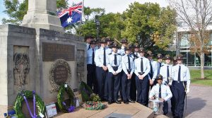 The 6 Wing team who participated in the Service of Commemoration in the West Torrens War Memorial Gardens marking the 70th Anniversary of the commencement of the Malayan Emergency, drawn from 604, 608, 609 and 613 Squadrons, and 606 Flight (the 6 Wing Band). Photo by Flying Officer (AAFC) Paul Rosenzweig.