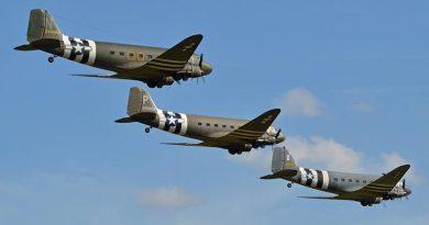 A formation of Douglas DC-3/C-47 Dakotas
