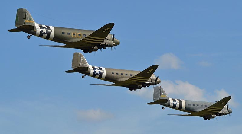 A formation of Douglas DC-3/C-47 Dakotas