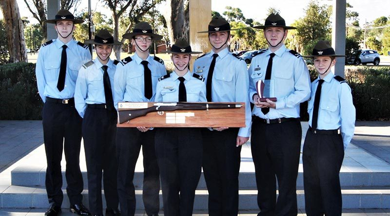 "The 622 Squadron team from Murray Bridge, winners of the Wing .22"" LR Team Shooting Competition for the third successive year, with LCDT Jacob Lavery holding the .22"" LR Champion Shot trophy. All photos by Flying Officer (AAFC) Paul Rosenzweig."