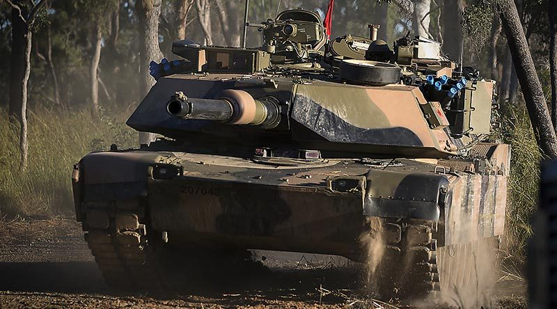 An Australian Army M1 Abrams tank on live-fire exercise at Shoalwater Bay during Exercise Diamond Strike 2018. Photo by Corporal Oliver Carter.