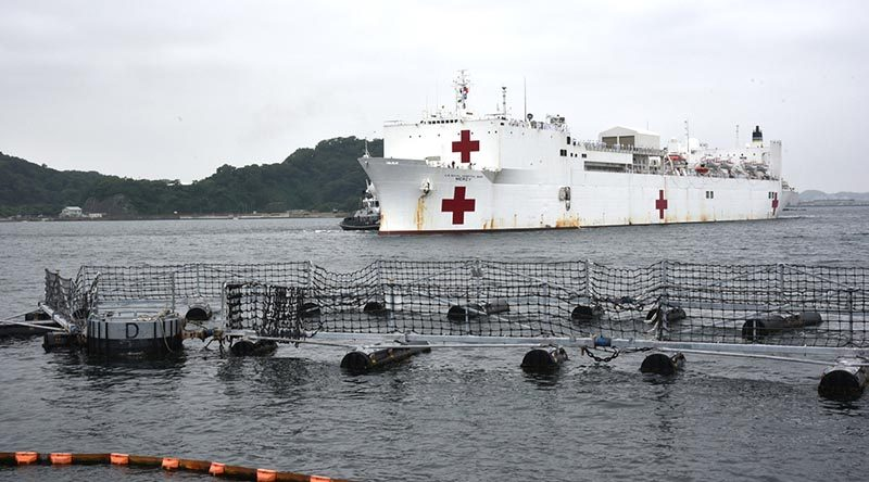 USNS Mercy arrives in Yokosuka, Japan, for a Exercise Pacific Partnership port visit on 10 June 2018. US Navy photo.