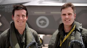 Squadron Leader David Bell, who flew the 1000th sortie in an Australian F-35A, with Wing Commander Darren Clare, Commanding Officer 3 Squadron RAAF. USAF photo.