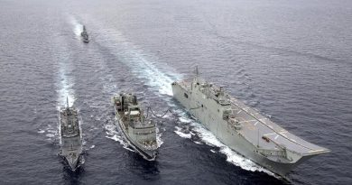 HMAS Success (centre) conducts a replenishment at sea with HMA Ships Adelaide and Melbourne, shadowed by HMAS Toowoomba, during Exercise Indo-Pacific Endeavour 2018. Photo by Able Seaman Tara Byrne.