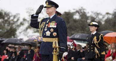 Chief of Defence Force Air Chief Marshal Mark Binskin is ceremonially received on the Queen's Birthday Parade at Rond Terrace, Canberra. The Queen's Birthday Parade is held to celebrate the official birthday of Her Majesty Queen Elizabeth II, Queen of Australia. The parade was held at Rond Terrace on the foreshore of Lake Burley Griffin on 9 June 2018. The parade is a ceremonial Trooping of the Queen's Colour conducted by the Corps of Staff Cadets of the Royal Military College - Duntroon. Photo by Grace Costa Banson