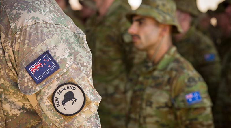 Australian and New Zealand personnel at a transfer of authority ceremony from Task Group Taji 6 to the seventh rotation at Taji Military Complex, Iraq. Photo by Corporal David Said.