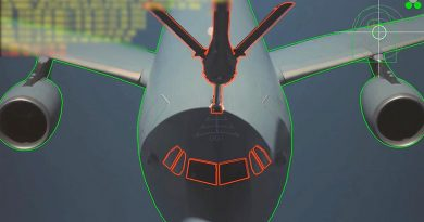 An emulation of what the image processing system 'sees' during the first automatic contact between an A310 MRTT demonstrator and a RAAF KC-30A. Airbus photo.