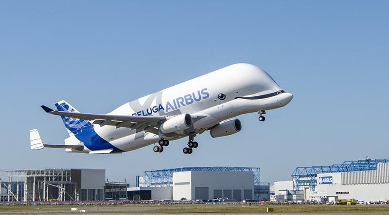 BelugaXL number 1 takes off on its maiden flight. Airbus photo by H Goussé.
