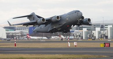 A RAAF C-17A Globemaster takes off from Canberra Airport to take the first tranche of Australian personnel and equipment to Thailand to assist in the international search-and-rescue effort for children missing at a cave complex in Chiang Rai. Photo by Sergeant Ray Vance.