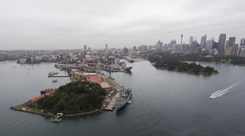 An array of Royal Australian Navy ships sit alongside at Garden Island, Sydney. Photo by Leading Seaman Tom Gibson.