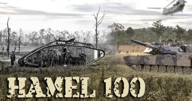 Composite image of WWI British Mk I tank at Le Hamel, France, 4 July 1918 – and a contemporary Australian Army M1A1 Abrams on Exercise Hamel, June 2018.