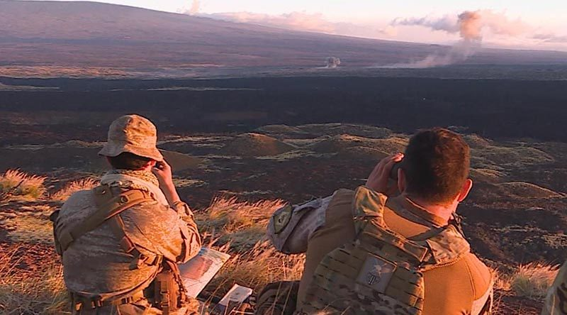 Australian Army Joint Fires Team (JFT) soldiers in Hawaii conduct a fire mission in support of Exercise Rim of the Pacific 2018 (RIMPAC).
