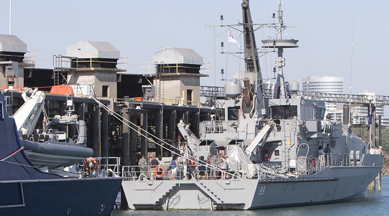 HMAS Childers alongside at Larrakeyah Defence Precinct in Darwin. Photo by Able Seaman Kristian Lee.
