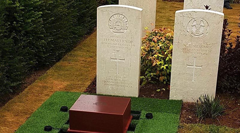 Final resting place of Private Thomas Hurdis, Mont Huon Military Cemetery, France. Photo courtesy Commonwealth War Graves Commission.