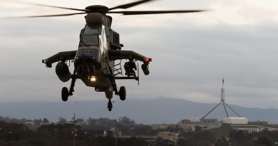 An Australian Army Tiger armed reconnaissance helicopter lands at Russell Offices during Army Demonstration Day 2018 in Canberra. Phot by Sergeant Ray Vance.