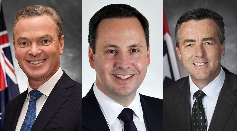 New Minister for Defence Christopher Pyne, new Minister for Defence Industry Steve Ciobo and Minister for Veterans' Affairs Darren Chester.